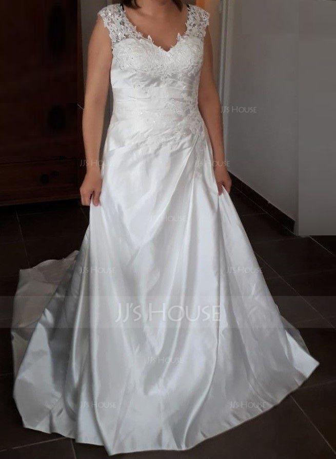 Robe Marquise/Princesse Col V Balayage/Pinceau train Satiné Robe de mariée avec Plissé Brodé Paillettes (002121436)