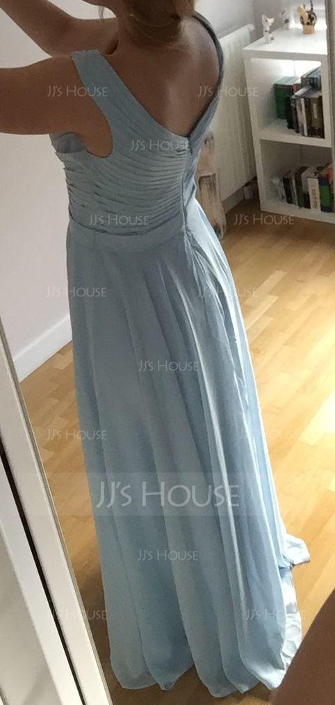 Forme Princesse Hors-la-épaule Longueur ras du sol Mousseline Robe de demoiselle d'honneur avec Plissé (007104732)