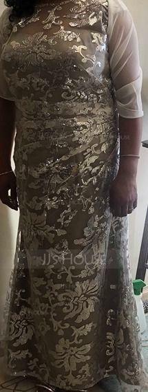 Sheath/Column Scoop Neck Floor-Length Sequined Evening Dress (017137388)