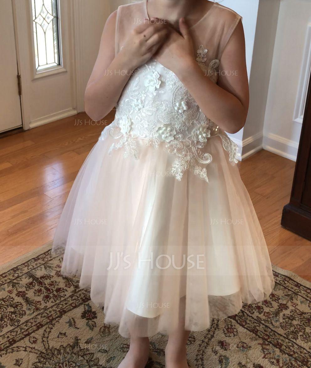 Aライン 膝上丈 フラワーガールのドレス - サテン/チュール 袖なし スクープネック とともに 弓/V戻ります