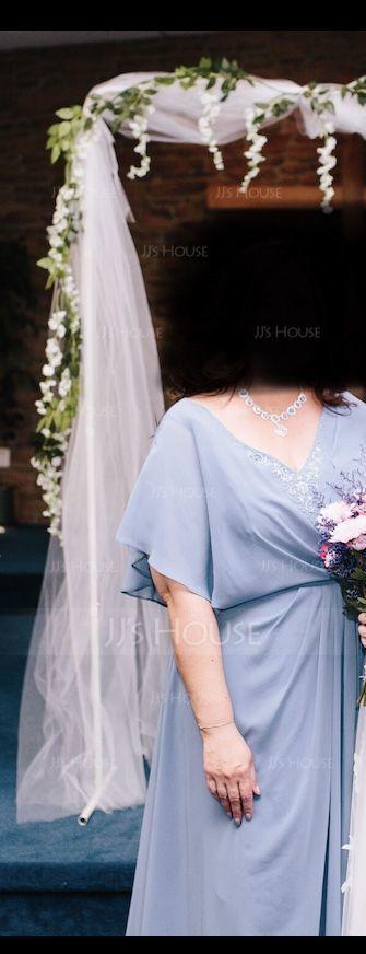 Áčkové Šaty V-Výstřihem Asymetrické Šifón Šaty pro matku nevěsty S Zdobení korálky flitry (008179221)