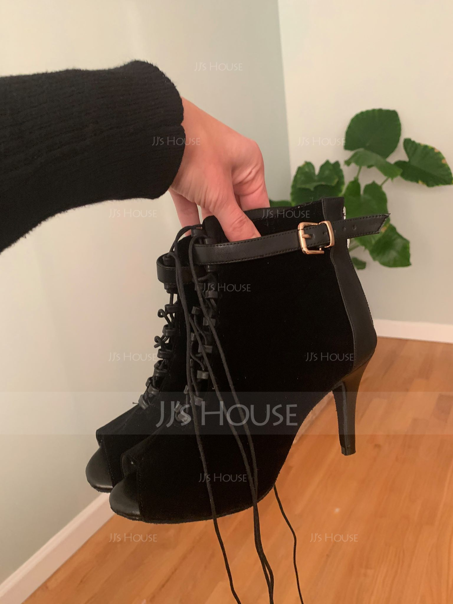Women's Real Leather Suede Heels Boots Dance Boots With Buckle Lace-up Dance Shoes (053059712)