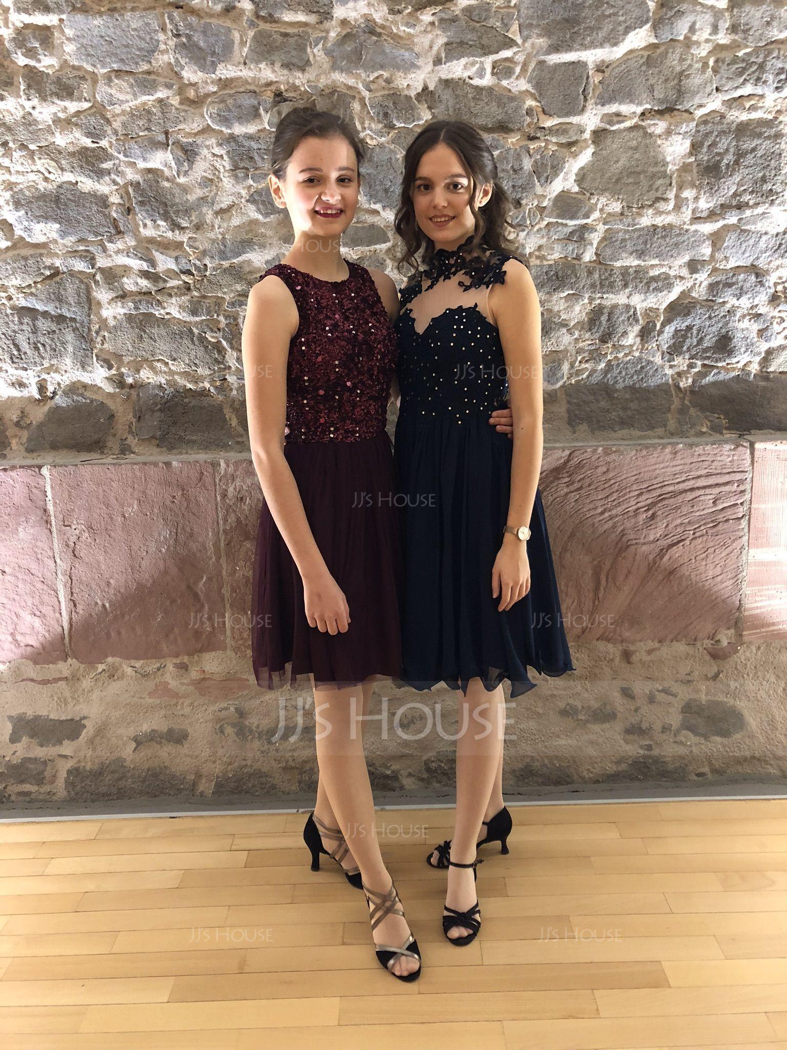 A-Line High Neck Knee-Length Chiffon Homecoming Dress (022120490)