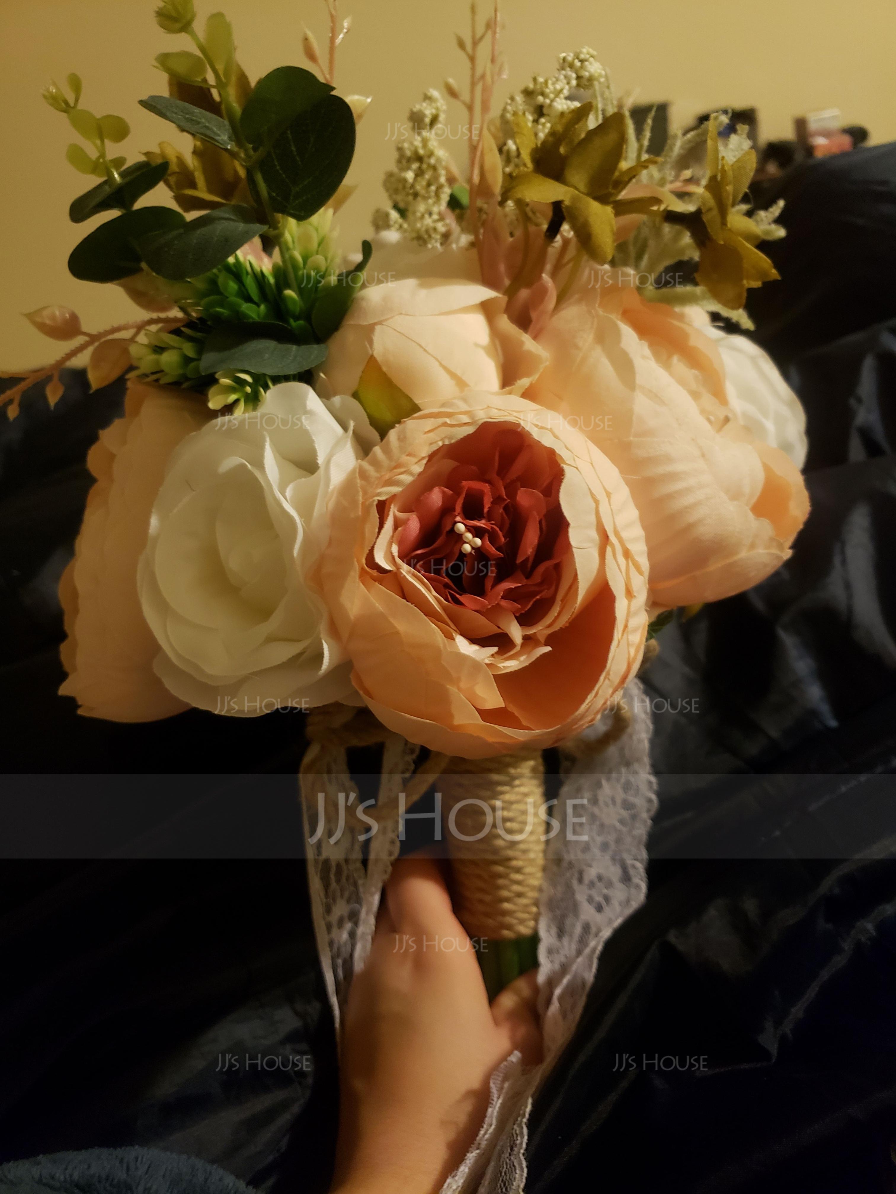 Round Satin/Silk Bridal Bouquets - (123114695)