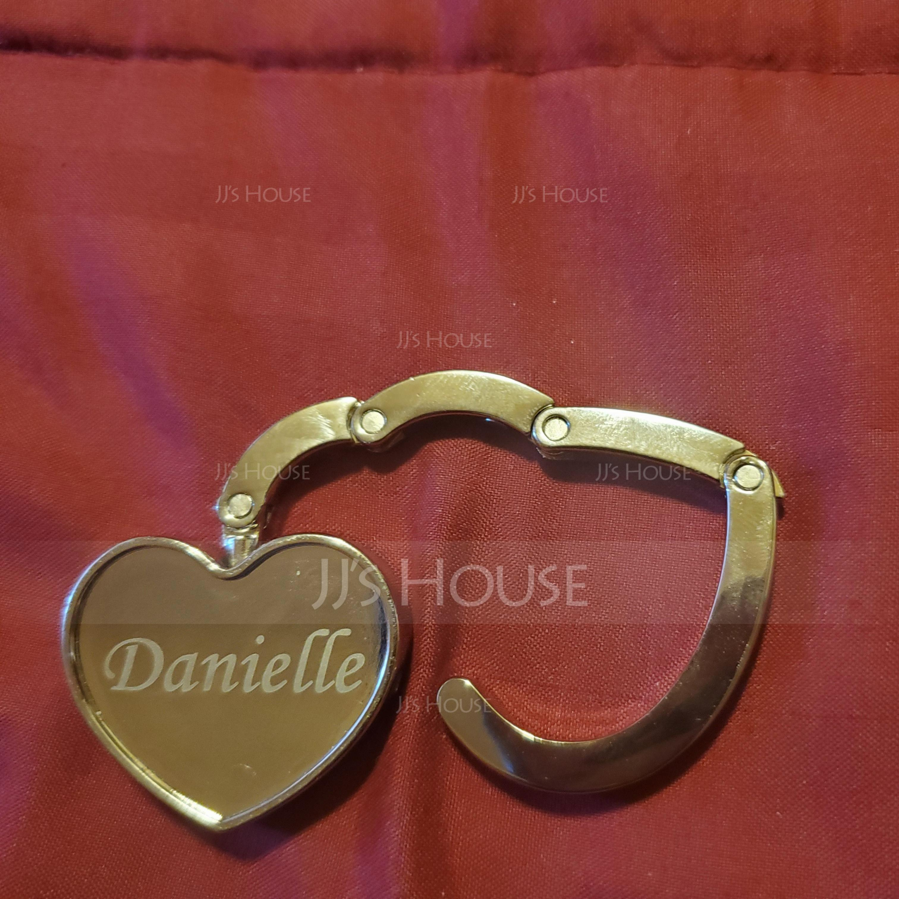 Personalized Heart Shaped Zinc Alloy Purse Hook (20 letters or less) (Sold in a single piece)