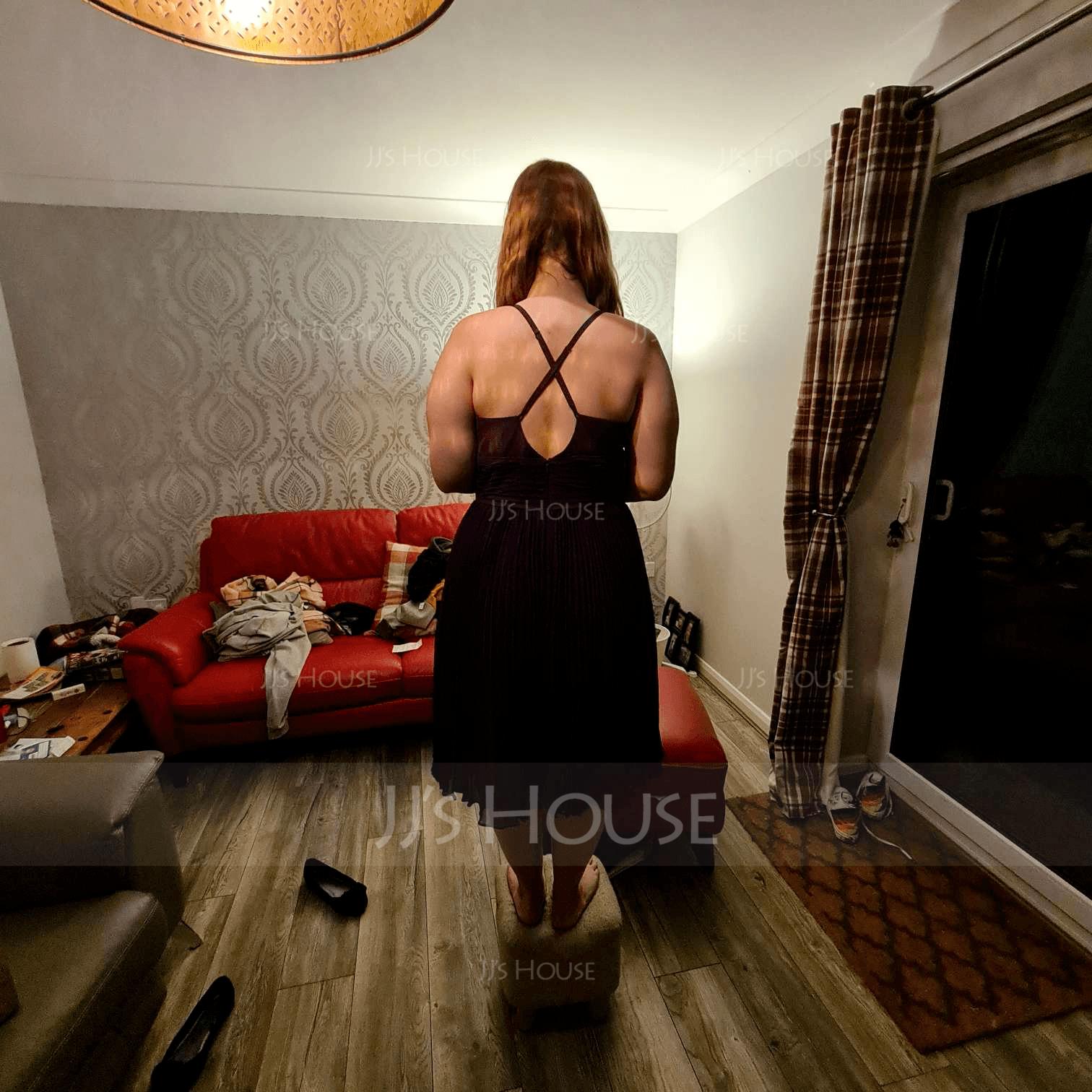 Aライン 恋人 膝上丈 シフォン ブライドメイドドレス とともに プリーツの
