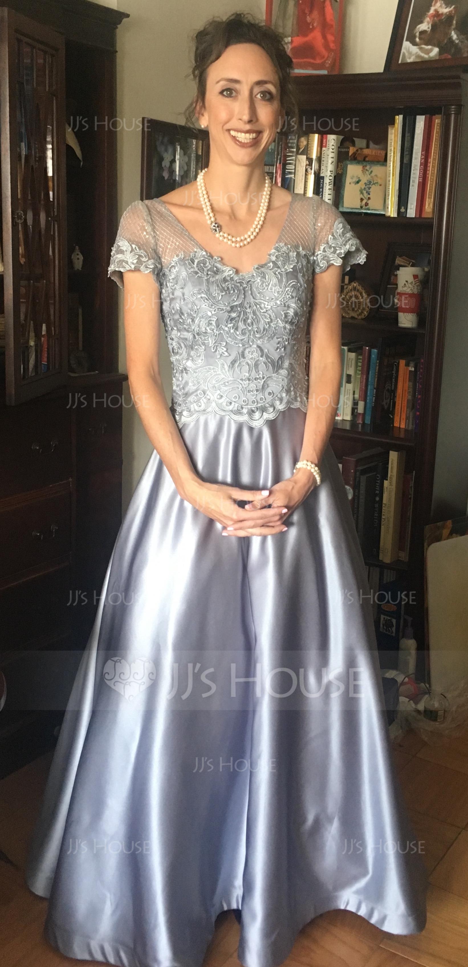 A-Linie/Princess-Linie V-Ausschnitt Bodenlang Satin Spitze Abendkleid mit Perlstickerei Pailletten Taschen (017144983)
