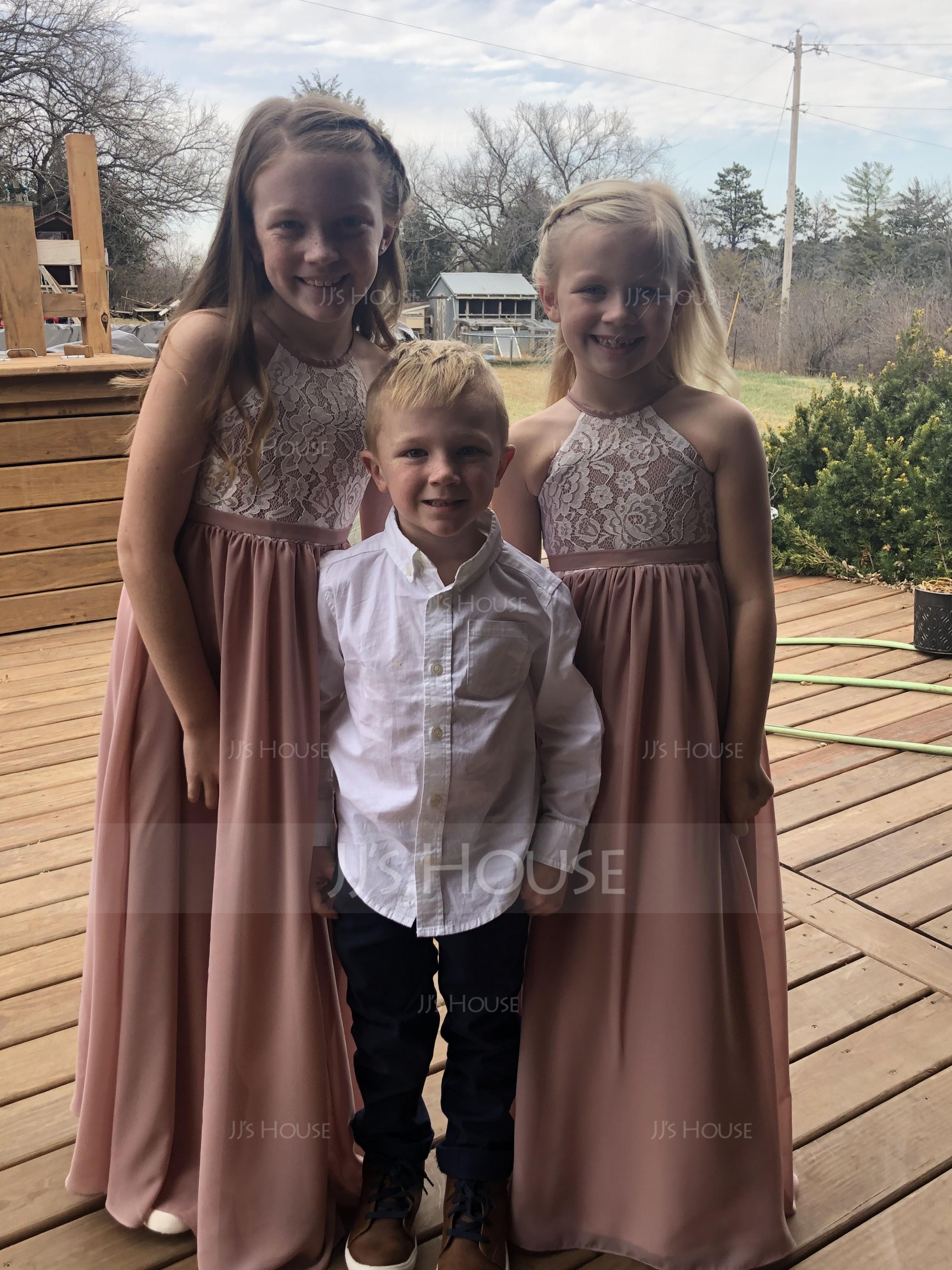 A-Linie U-Ausschnitt Bodenlang Chiffon Spitze Kleider für junge Brautjungfern