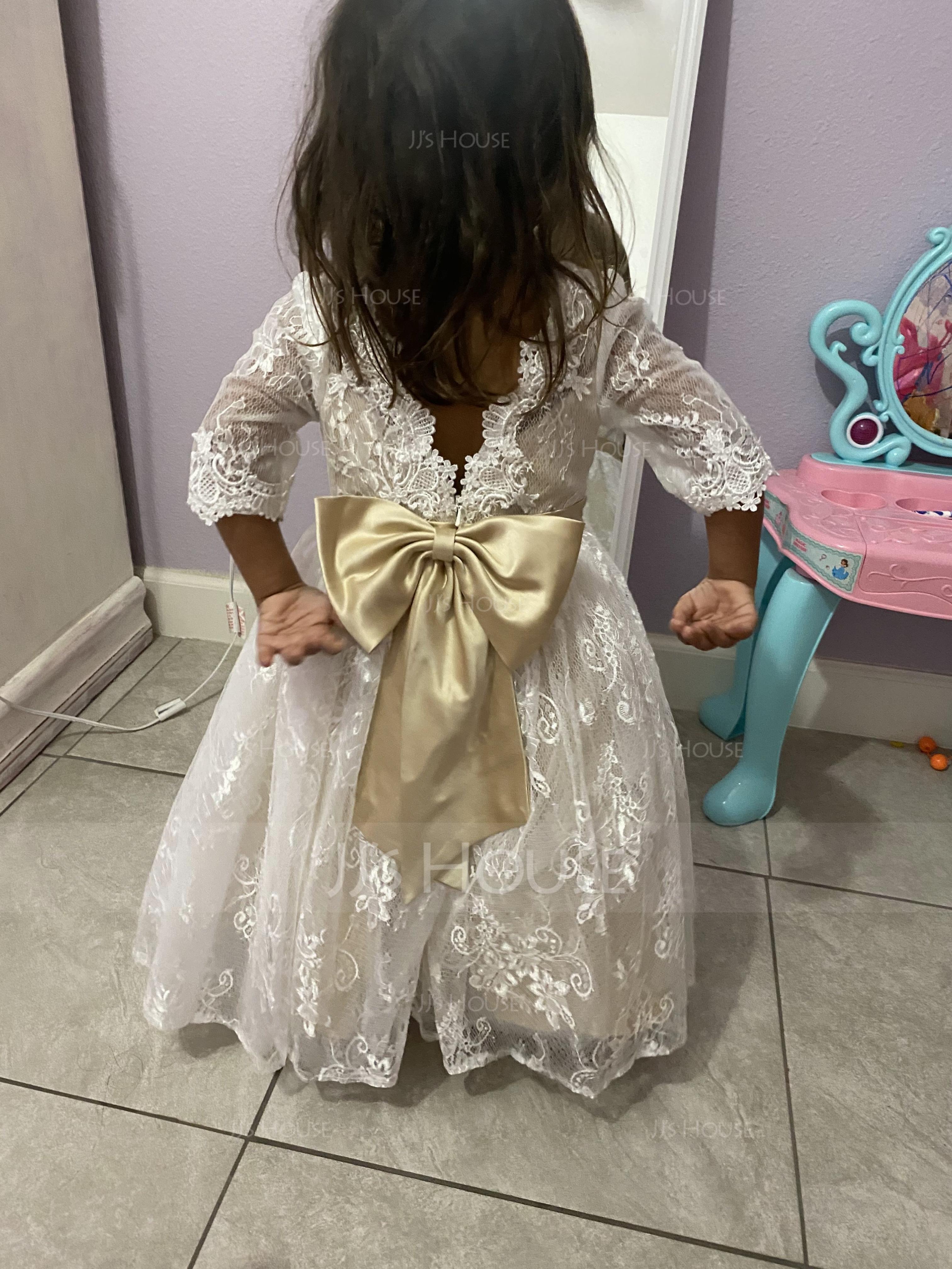Aライン マキシレングス フラワーガールのドレス - チュール/レース 3/4 袖 スクープネック とともに 弓