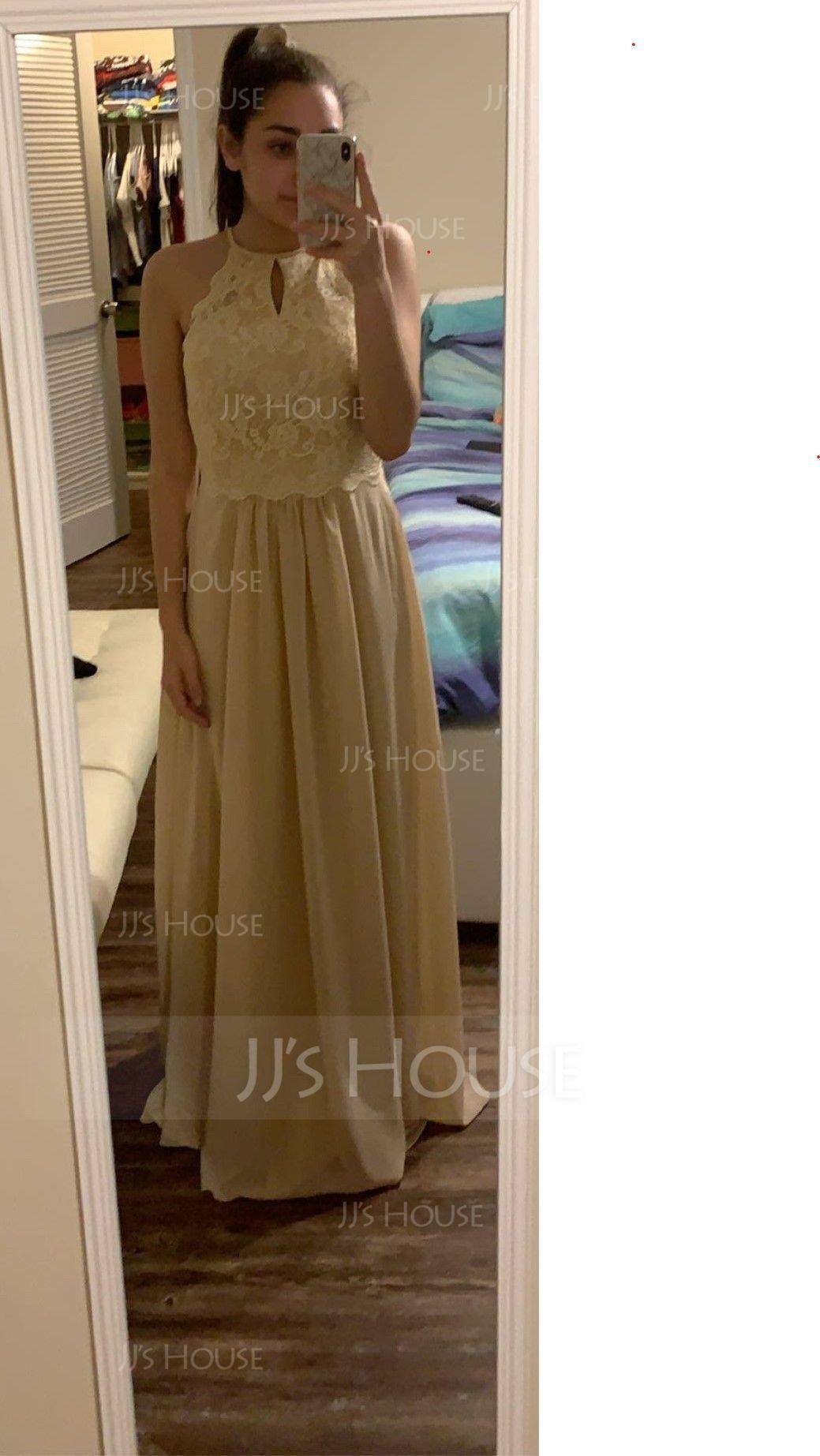 A-Line/Princess Scoop Neck Floor-Length Chiffon Lace Bridesmaid Dress (007153307)