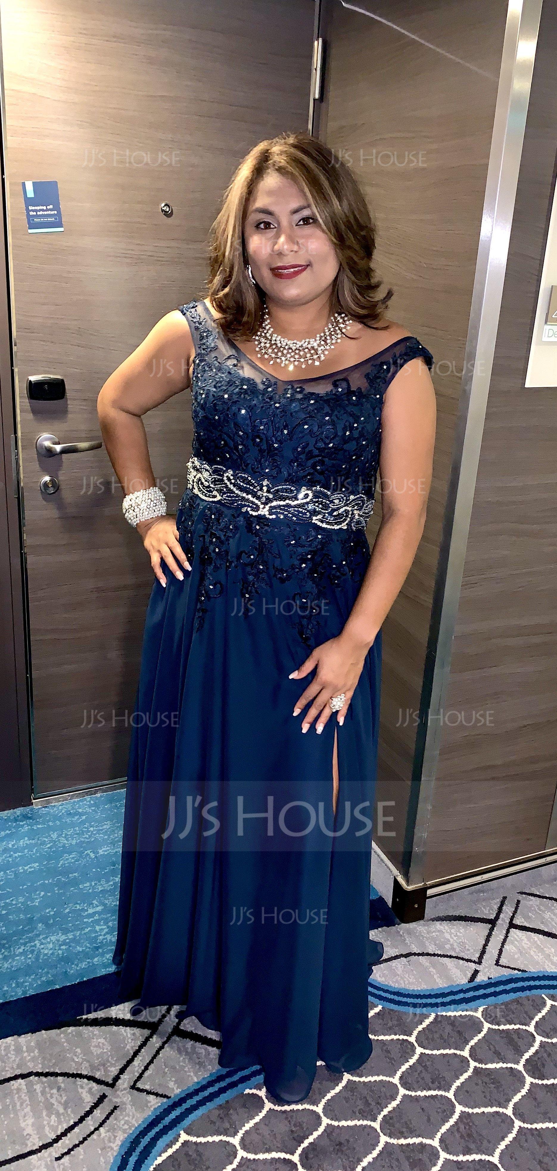 A-Line V-neck Floor-Length Chiffon Evening Dress With Beading Sequins (017167689)