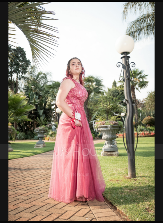 A-Line V-neck Floor-Length Tulle Prom Dresses With Sequins Split Front (018192377)