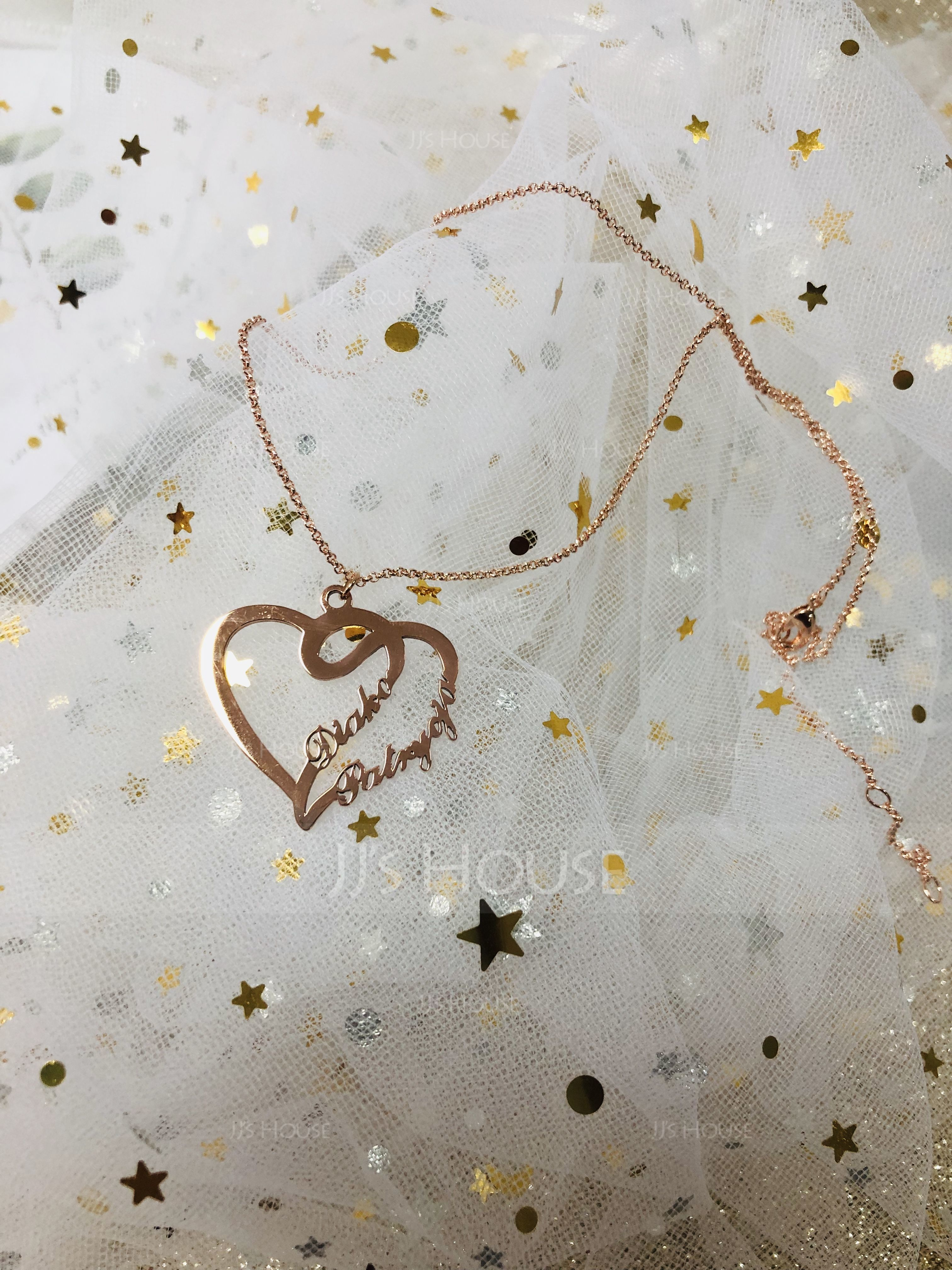 Custom Heart Two Name Necklace Heart Necklace - Valentines Gifts (288211311)