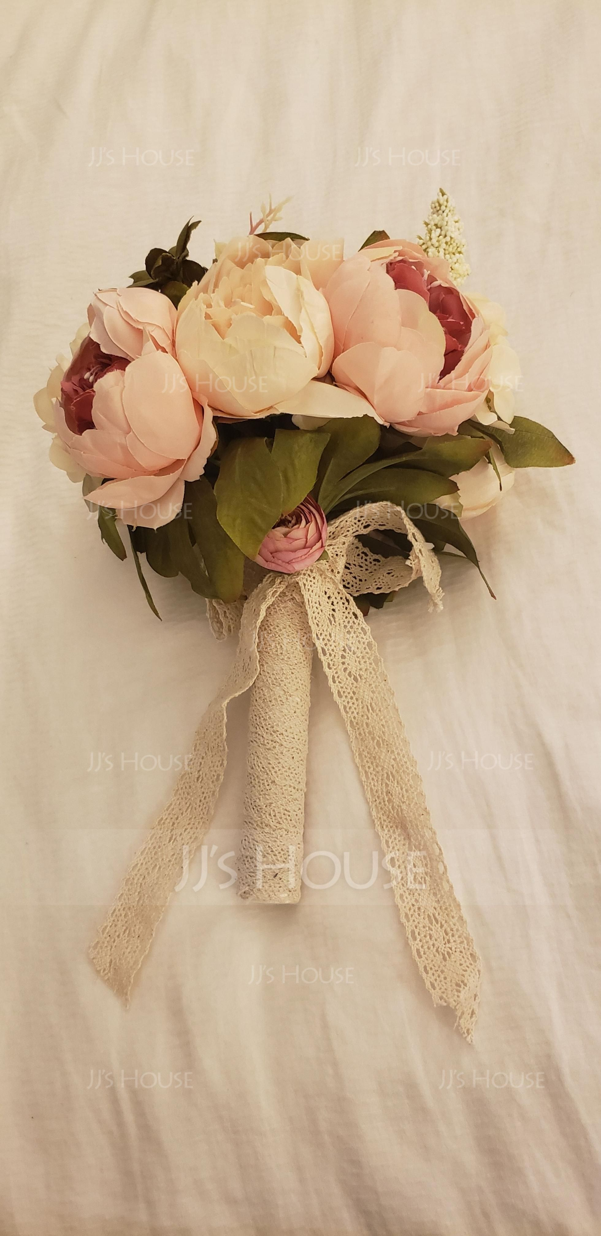 Simple And Elegant Round Satin Bridal Bouquets/Bridesmaid Bouquets - (123080413)