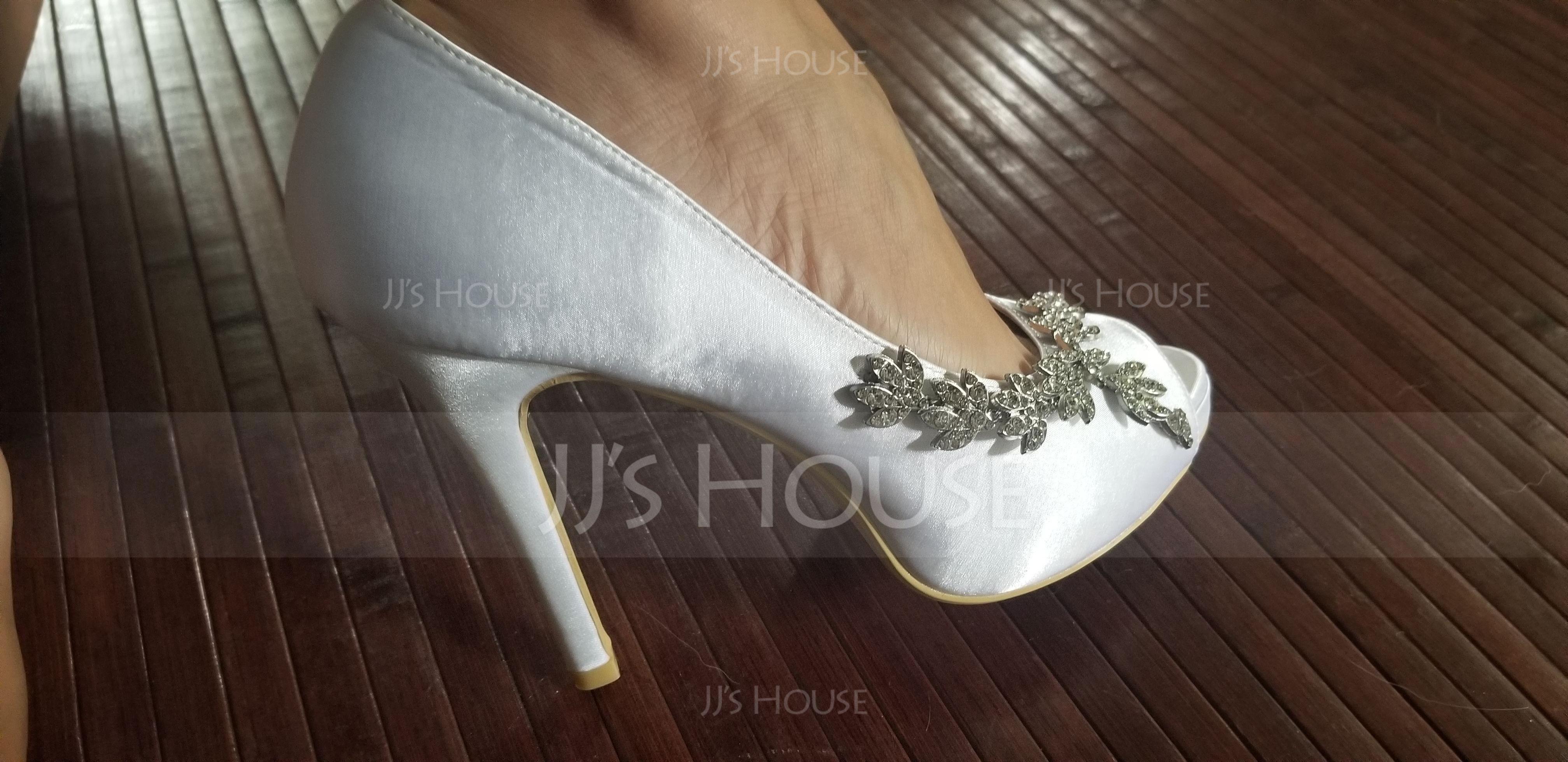 Women's Silk Like Satin Stiletto Heel Peep Toe Platform Pumps With Rhinestone (047195481)