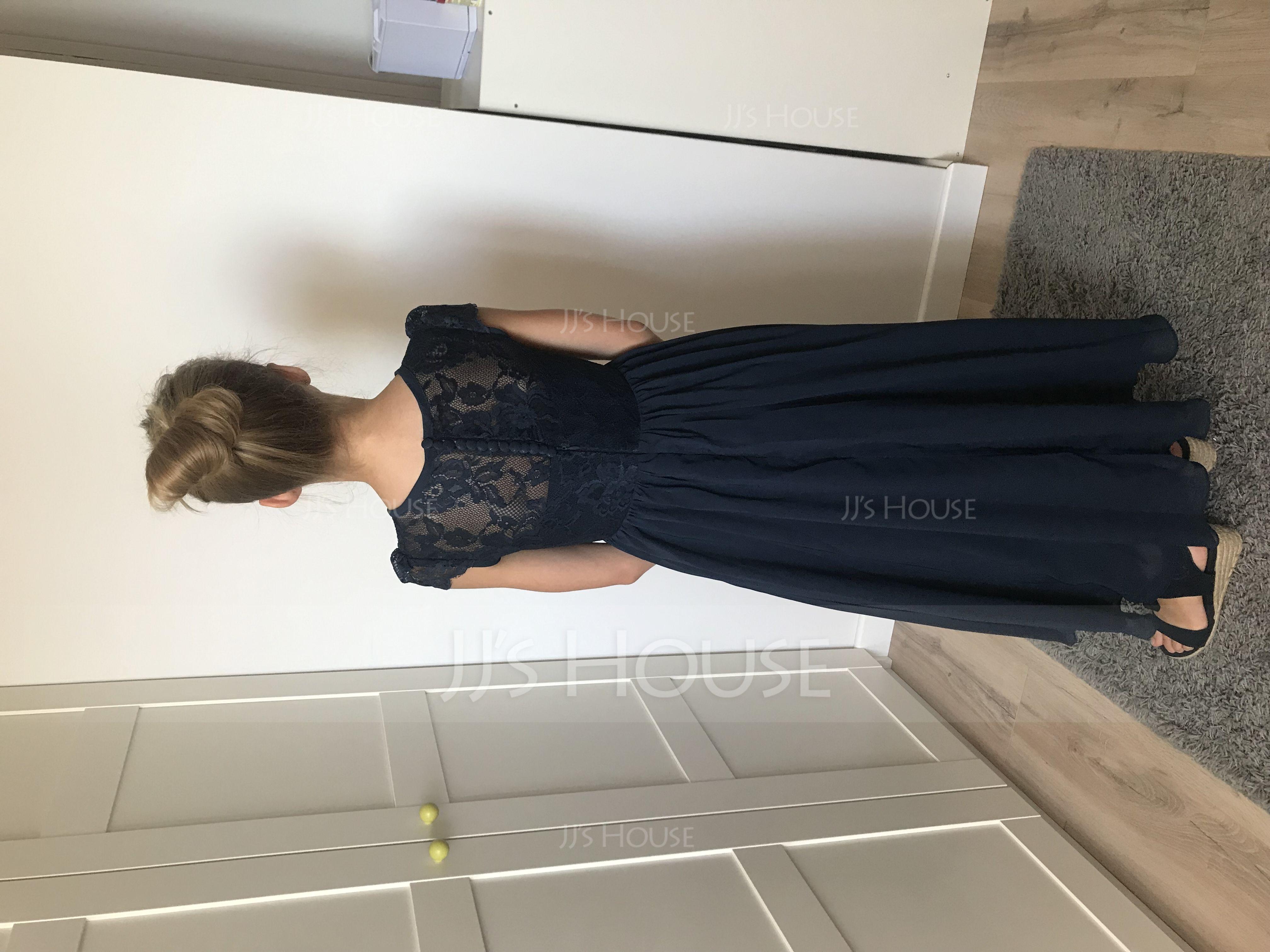 A-Line/Princess Scoop Neck Floor-Length Chiffon Lace Junior Bridesmaid Dress (009081155)