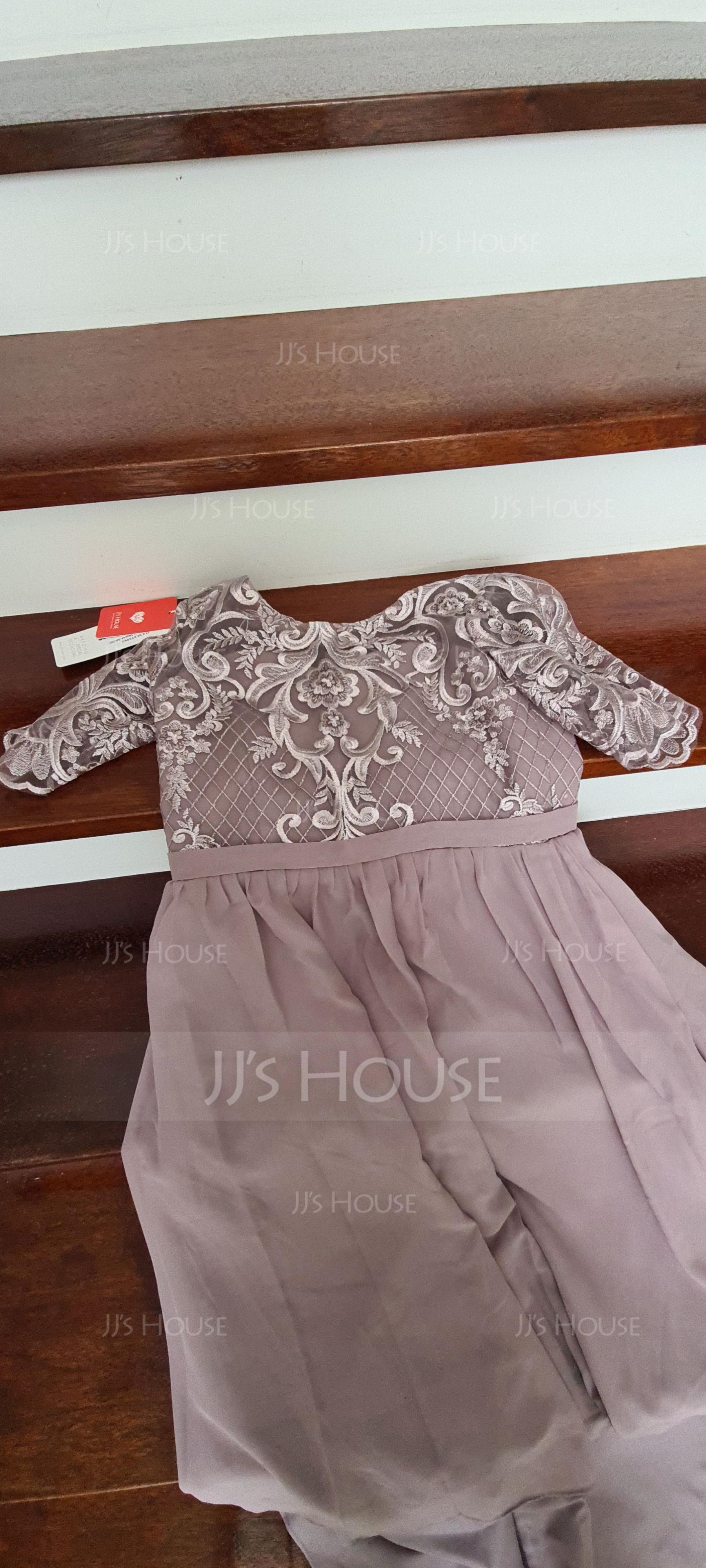 A-Linie U-Ausschnitt Asymmetrisch Chiffon Spitze Kleider für junge Brautjungfern