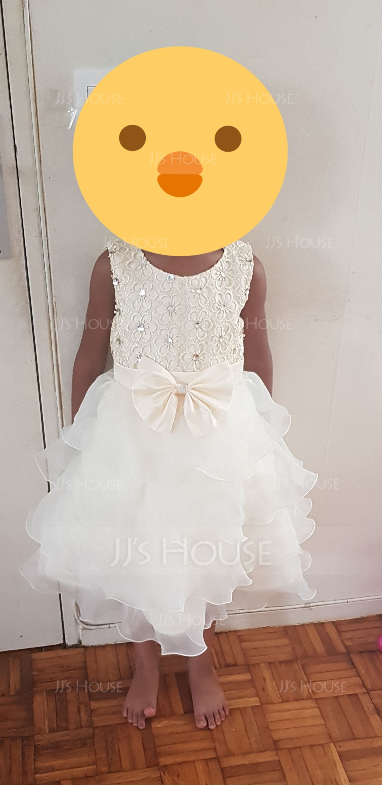 Ball Gown Knee-length Flower Girl Dress - Organza/Lace Sleeveless Scoop Neck With Bow(s) (010101902)