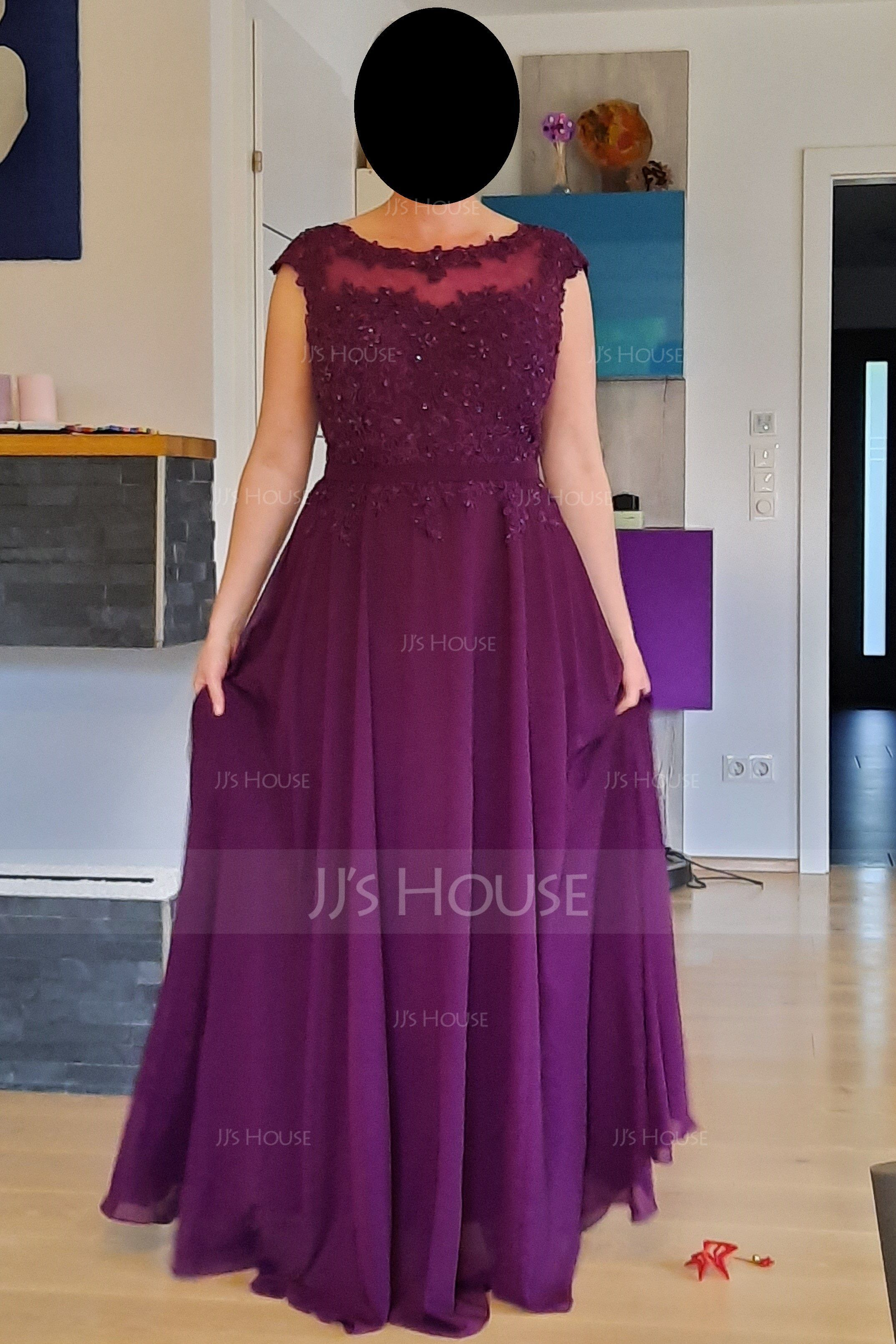 A-Line/Princess Scoop Neck Floor-Length Chiffon Prom Dresses With Beading Appliques Lace Sequins (018112725)