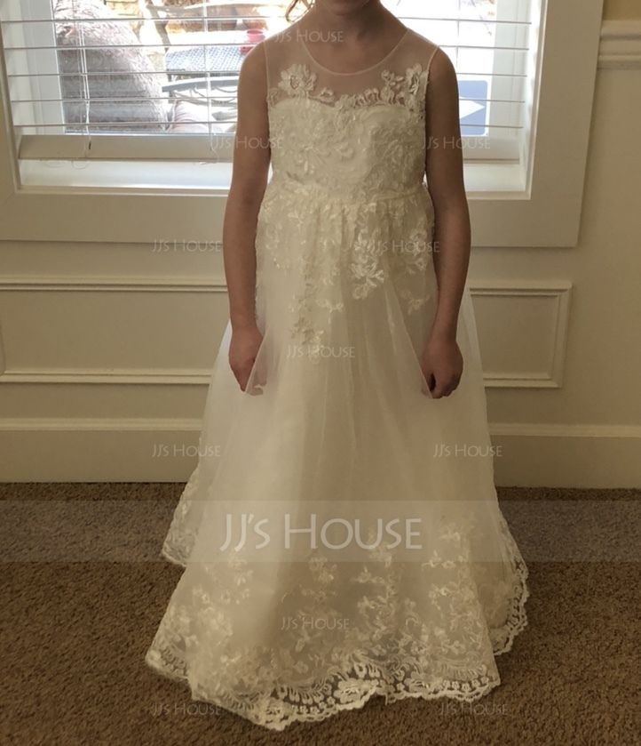 A-Line/Princess Floor-length Flower Girl Dress - Tulle/Lace Sleeveless Scoop Neck With Sash/Bow(s) (010136583)
