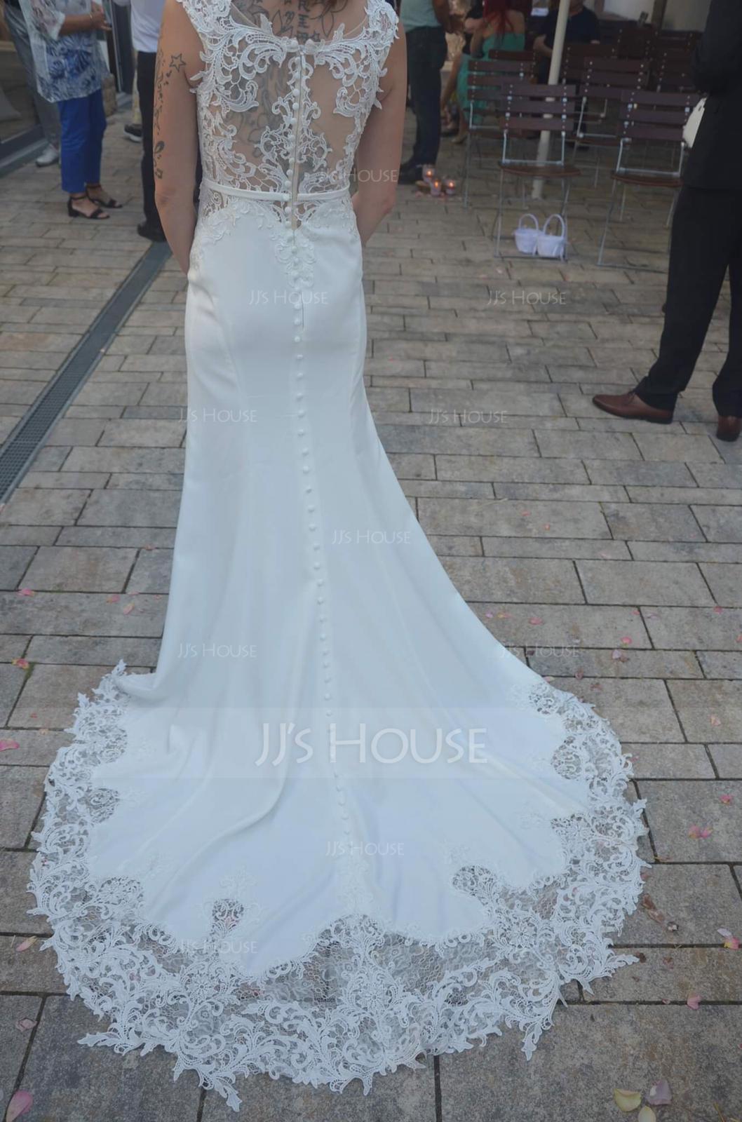 Trumpet/Mermaid Scoop Neck Court Train Stretch Crepe Wedding Dress (002118439)
