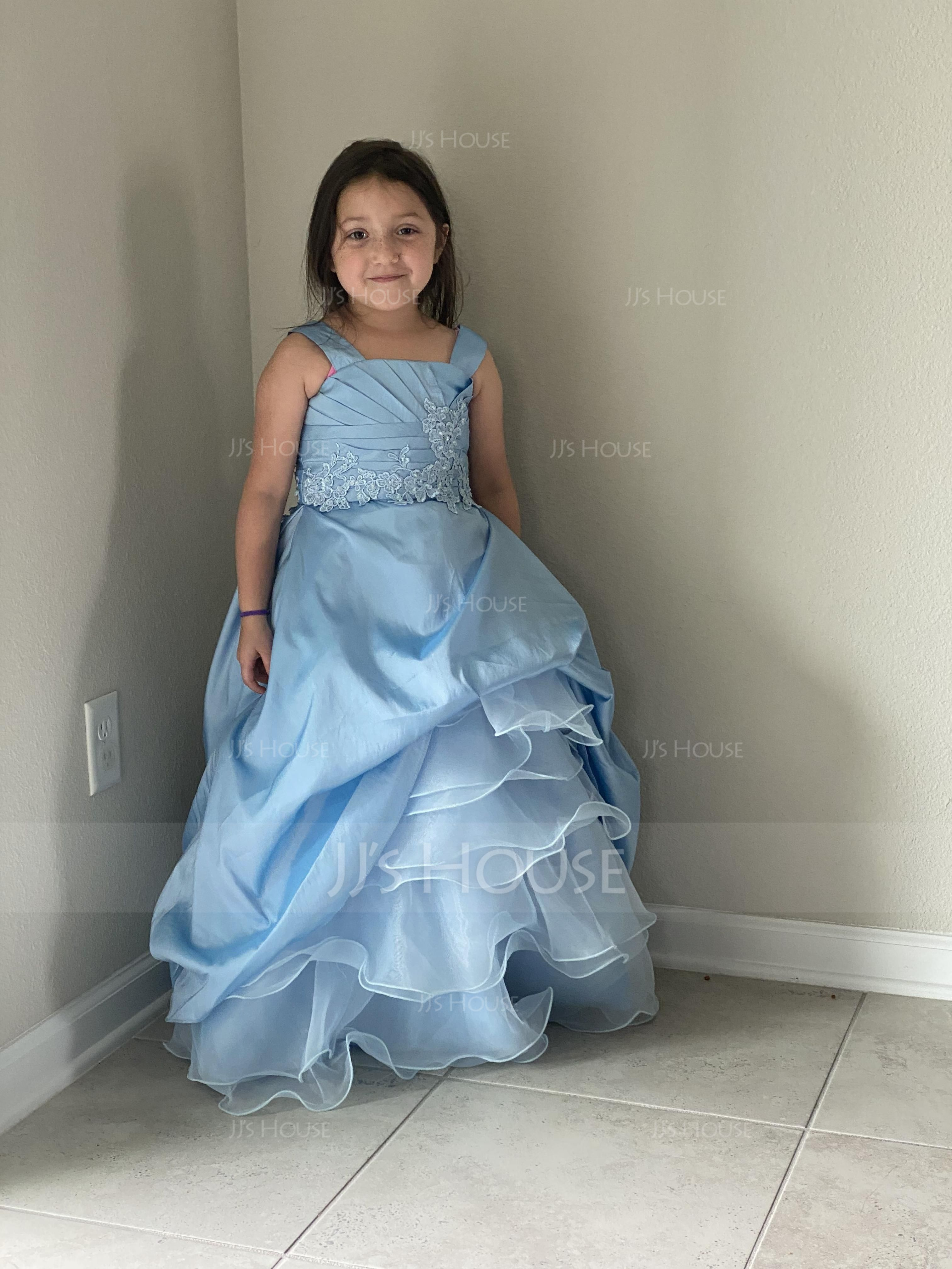 Ball Gown Floor-length Flower Girl Dress - Taffeta/Organza Sleeveless Straps With Ruffles/Beading/Appliques/Pick Up Skirt (010005784)