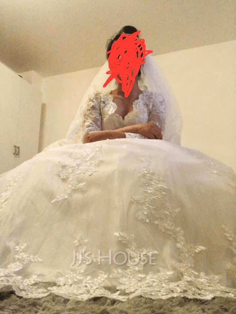Corte De Baile/Princesa Escote en V Cola capilla Tul Vestido de novia con Cuentas Lentejuelas