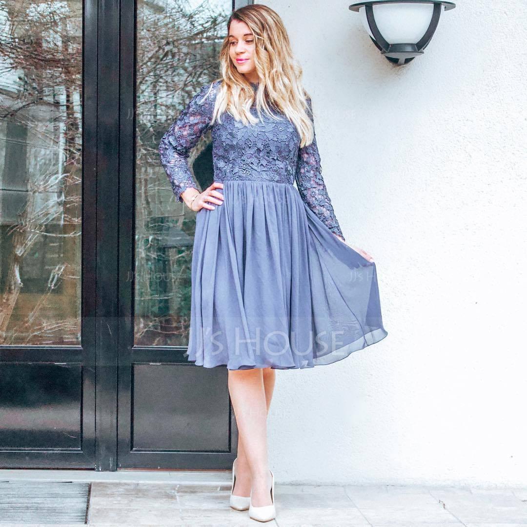 A-Line/Princess High Neck Knee-Length Chiffon Cocktail Dress (016170854)