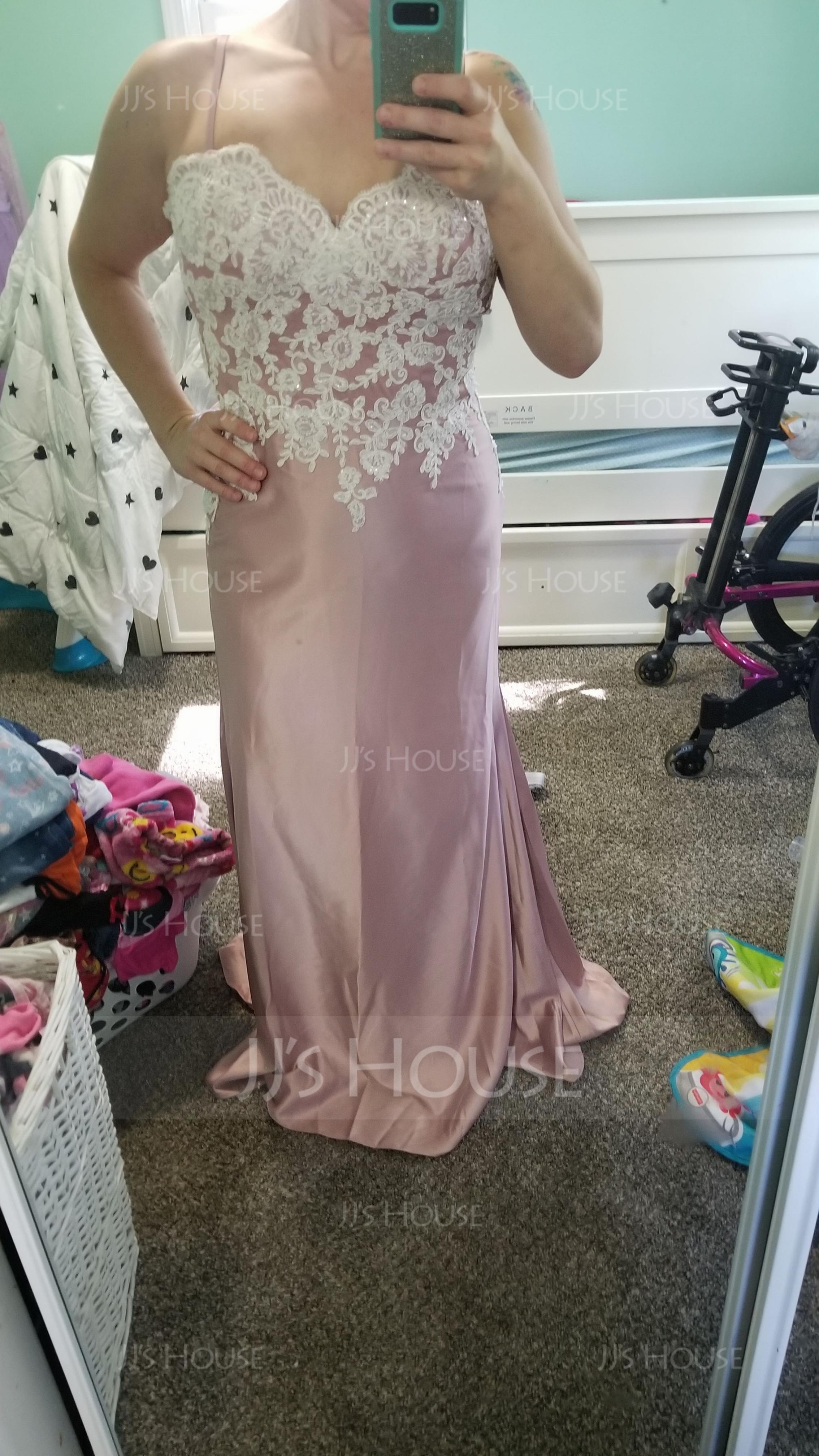 Trumpet/Mermaid Sweetheart Sweep Train Evening Dress (017198640)