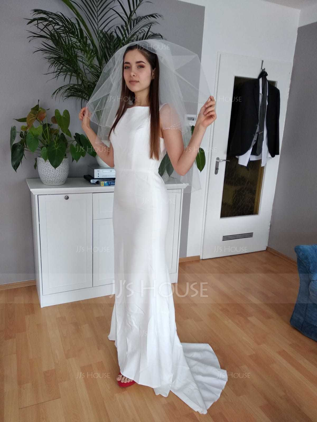 Trumpet/Mermaid Scoop Neck Sweep Train Jersey Wedding Dress (002119800)
