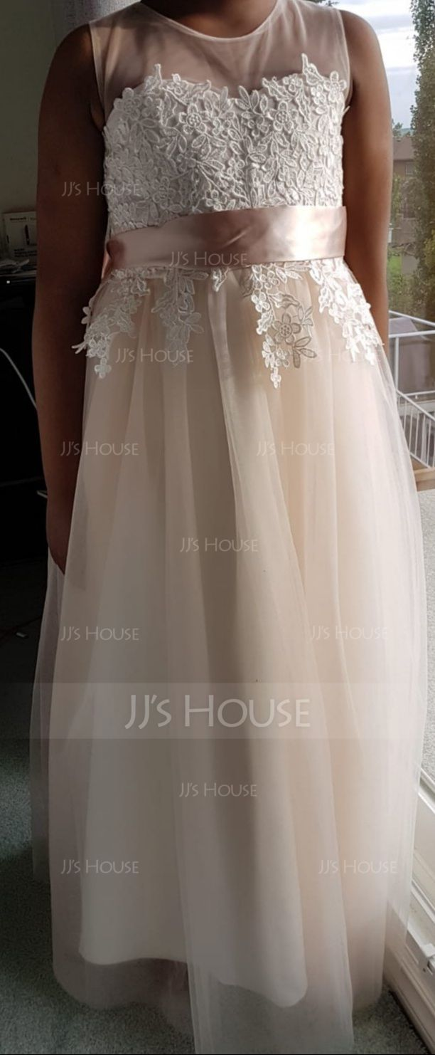 A-Line Floor-length Flower Girl Dress - Tulle/Lace Sleeveless Scoop Neck With Appliques (010122557)