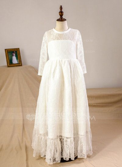 A-Line/Princess Floor-length Flower Girl Dress - Tulle/Lace Long Sleeves Scoop Neck (010093749)