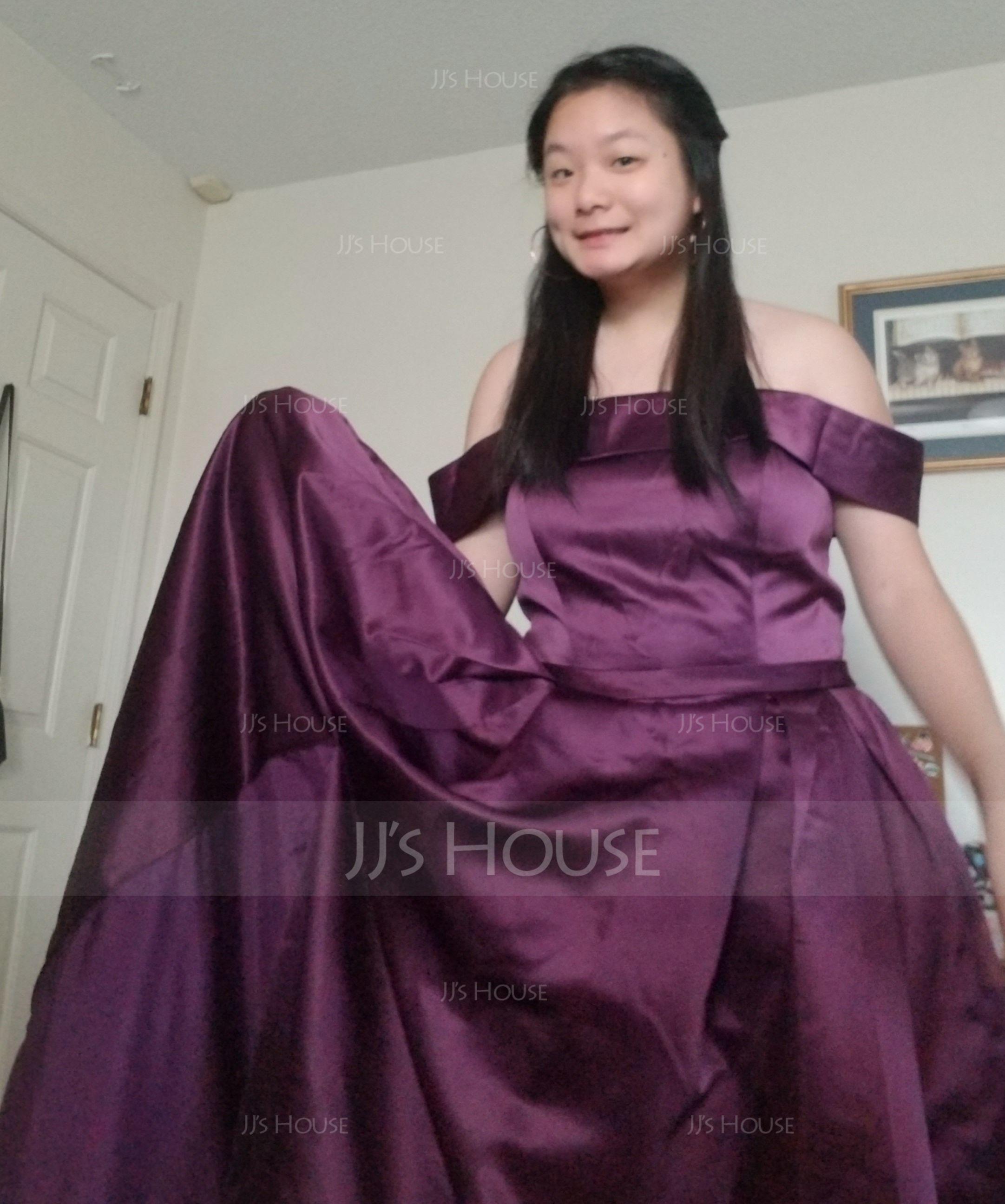 A-Line Off-the-Shoulder Floor-Length Satin Prom Dresses With Split Front Pockets (018220243)