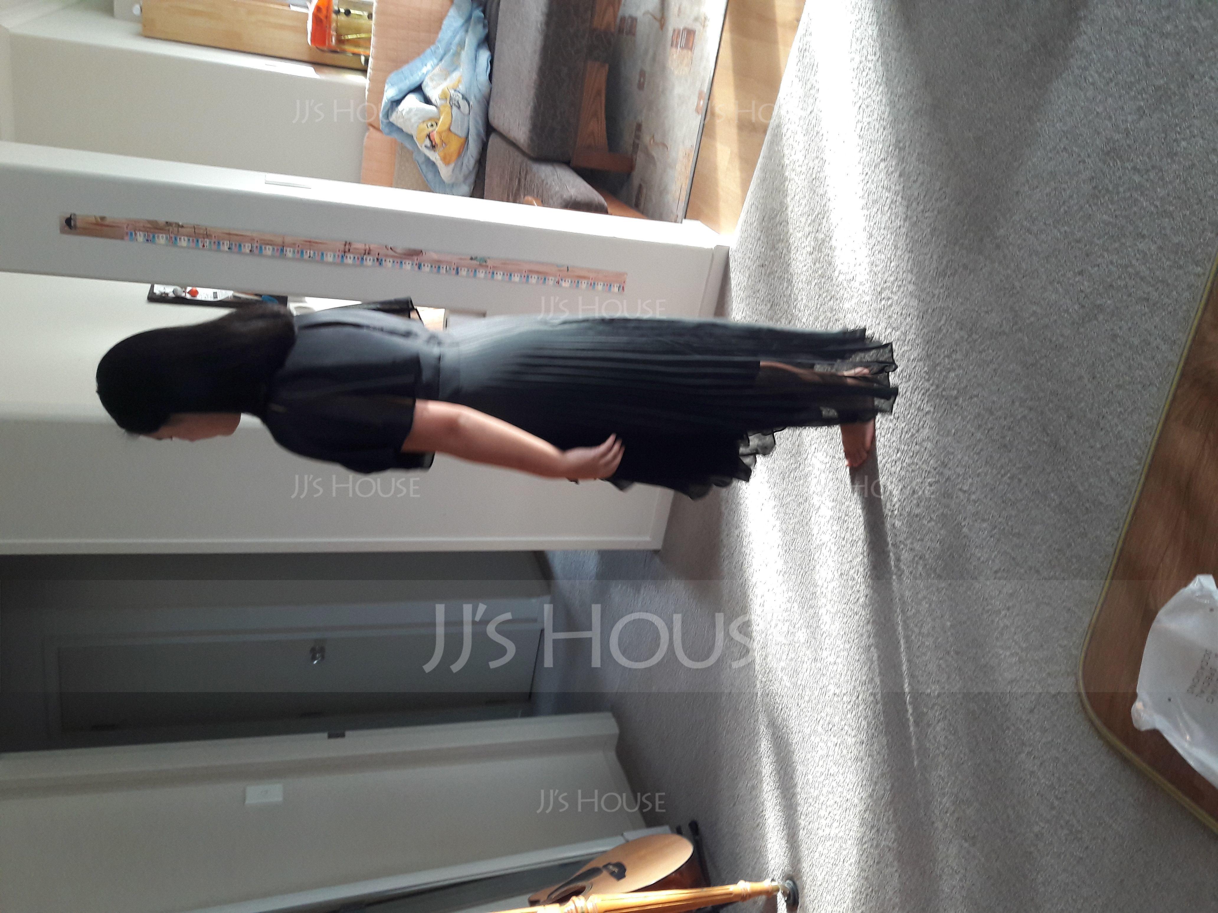 A-Linje Rund-urringning Asymmetrisk Chiffong Cocktailklänning med Plisserad (016150211)