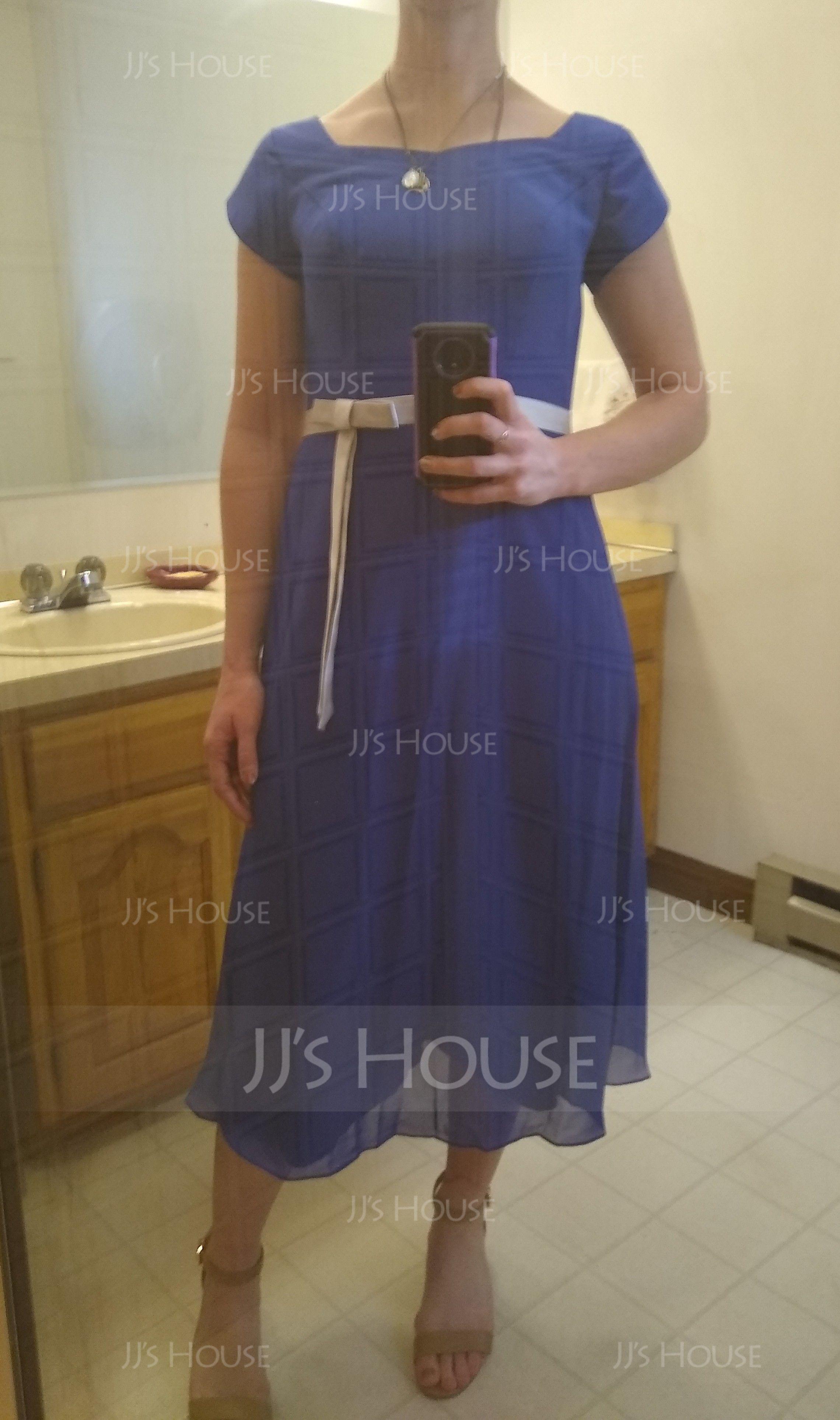A-Line/Princess V-neck Tea-Length Chiffon Bridesmaid Dress With Sash Bow(s) (007001487)