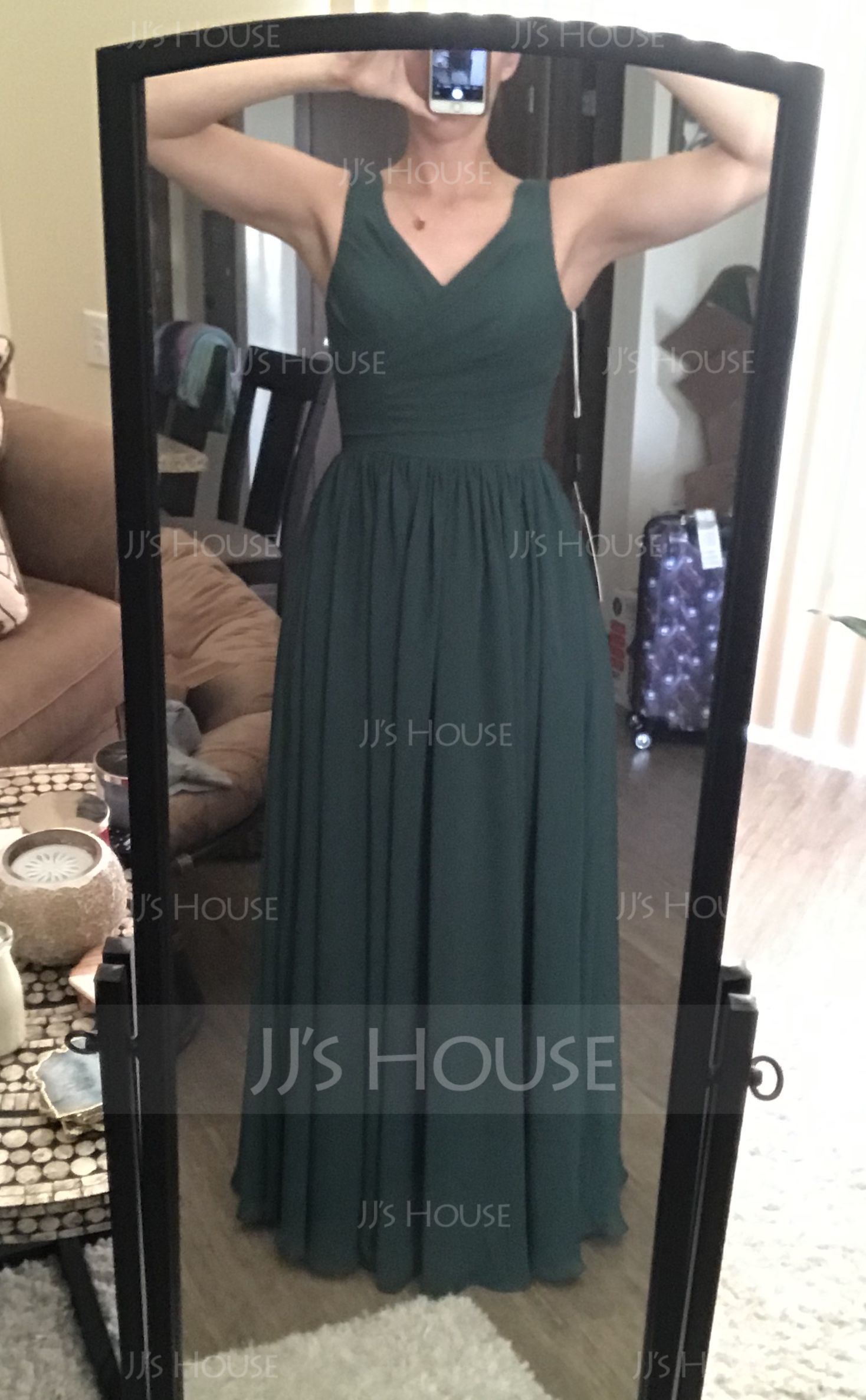 A-Line/Princess V-neck Floor-Length Chiffon Bridesmaid Dress With Ruffle (007053518)