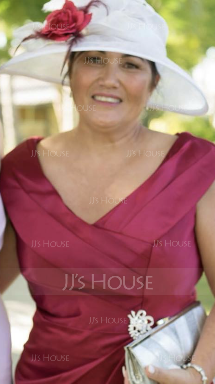 Sheath/Column V-neck Knee-Length Satin Mother of the Bride Dress With Ruffle Beading (008131959)