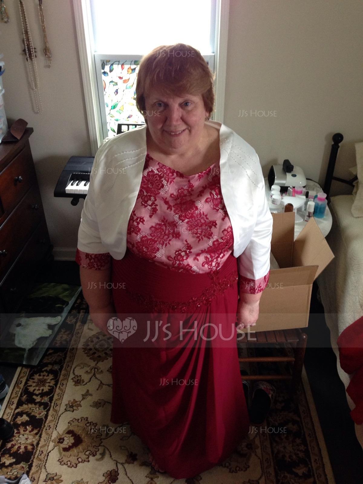 Etui-Linie U-Ausschnitt Knöchellang Chiffon Spitze Kleid für die Brautmutter mit Perlstickerei Pailletten Gestufte Rüschen (008131939)