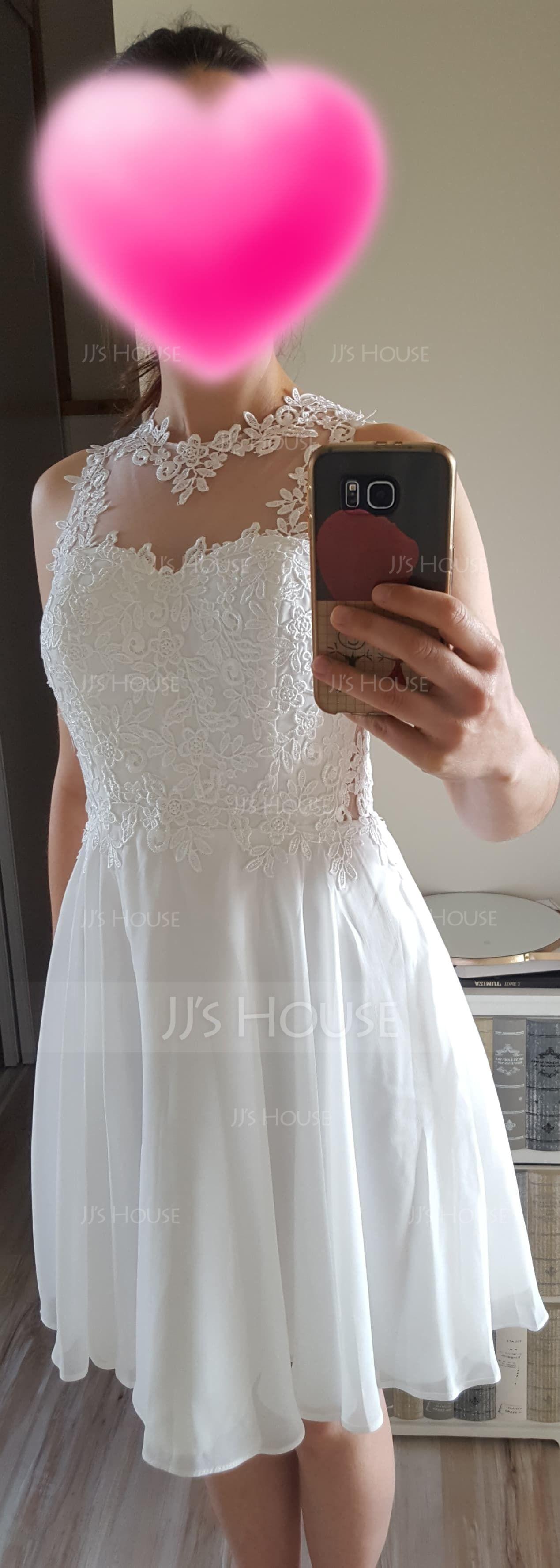 A-Line/Princess Scoop Neck Short/Mini Chiffon Homecoming Dress (022087607)