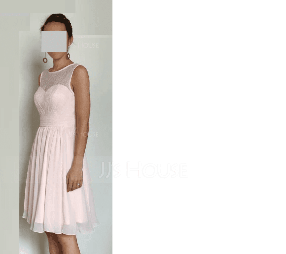 A-Line/Princess Scoop Neck Knee-Length Chiffon Lace Bridesmaid Dress With Ruffle (007104739)