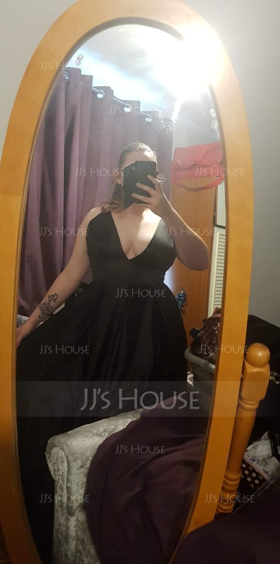 Ball-Gown V-neck Floor-Length Satin Evening Dress (017137361)