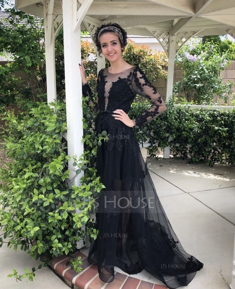 A-Line/Princess Scoop Neck Floor-Length Tulle Prom Dresses With Beading Sequins (018138349)
