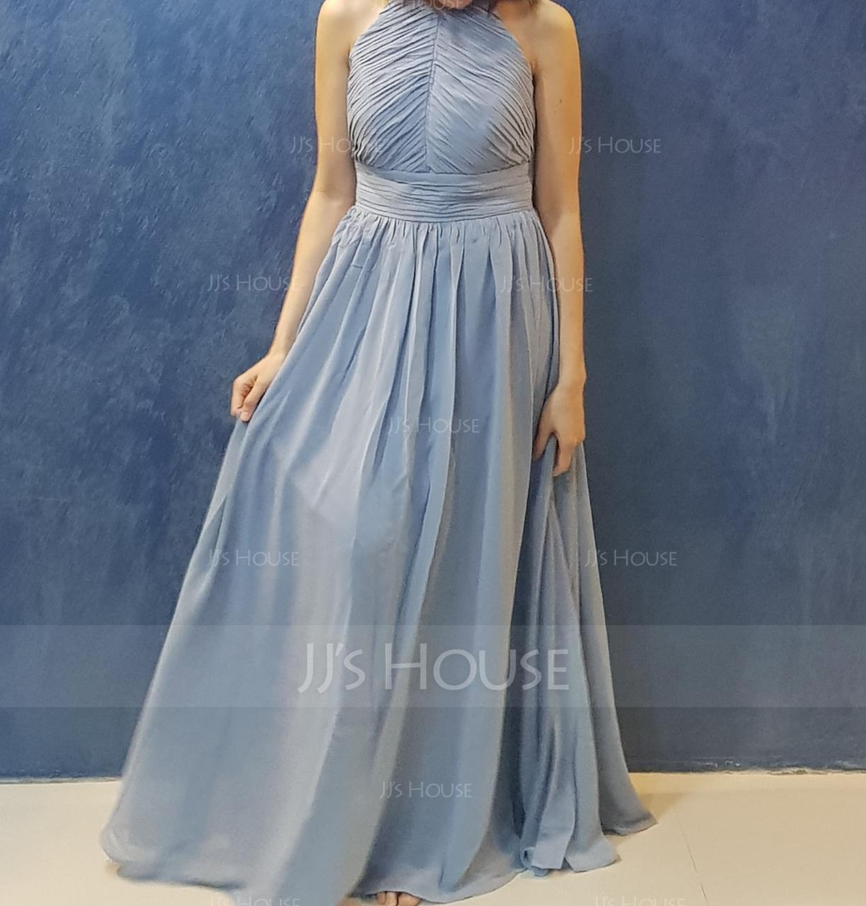 A-Line/Princess Scoop Neck Floor-Length Chiffon Bridesmaid Dress With Ruffle (007144752)