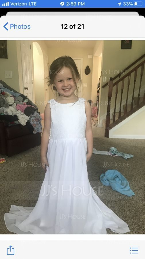 A-Line/Princess Floor-length Flower Girl Dress - Chiffon/Lace Sleeveless Scoop Neck With Appliques (010122577)
