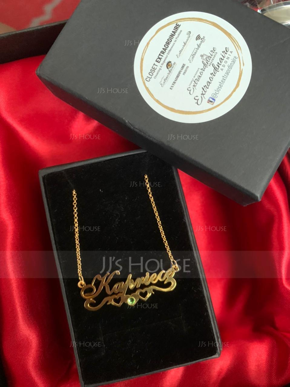 パーソナライズ 18Kゴールドメッキ 文字 ネームネックレス 誕生石ネックレス とともに 心臓 誕生石 - 誕生日プレゼント