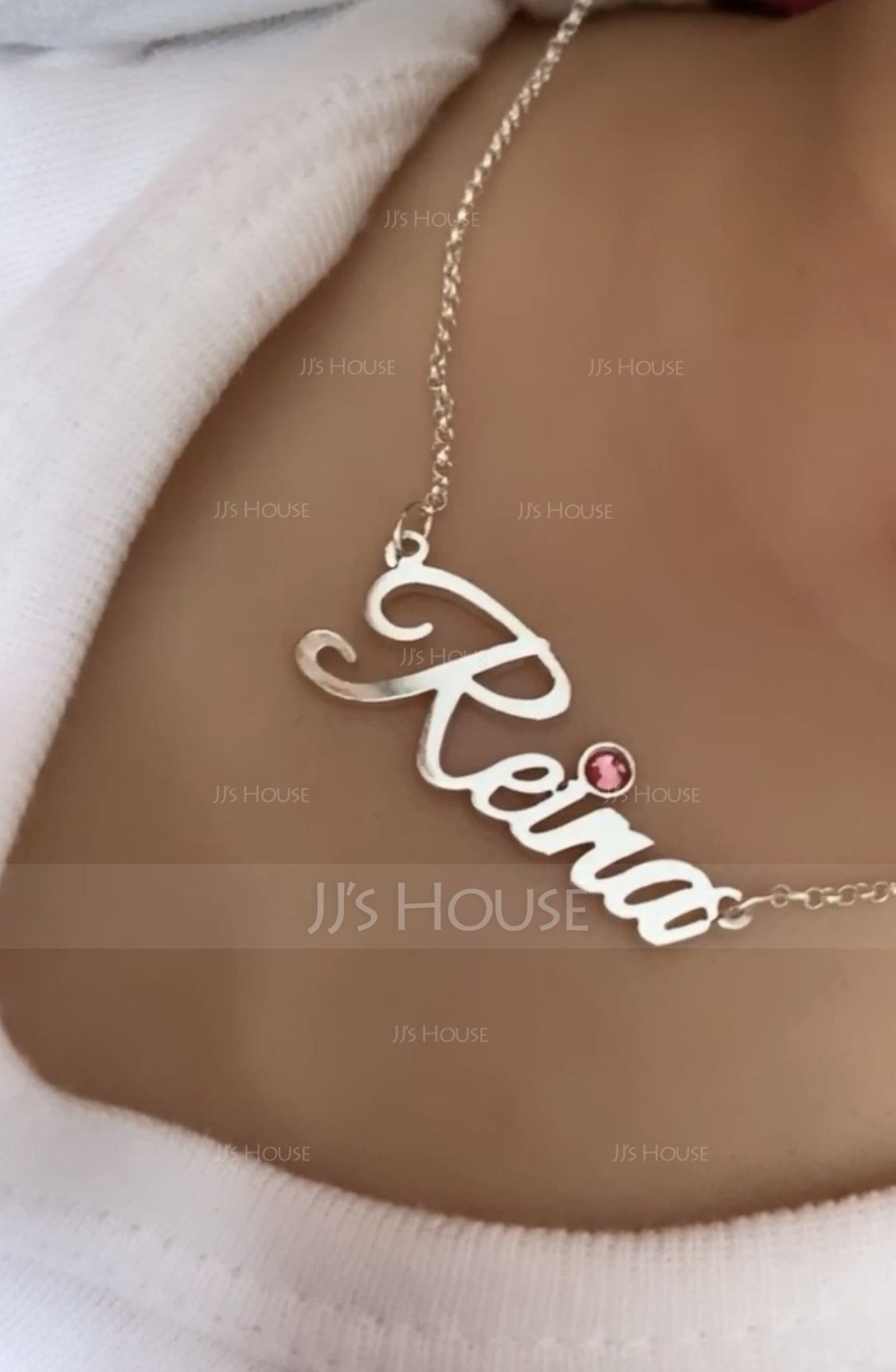 [Free Shipping]Custom 18k Rose Gold Plated Letter Name Necklace With Birthstone - Birthday Gifts