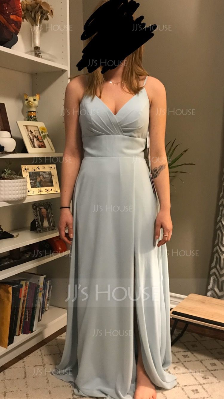 A-Line V-neck Floor-Length Chiffon Bridesmaid Dress With Ruffle Pockets (007190687)