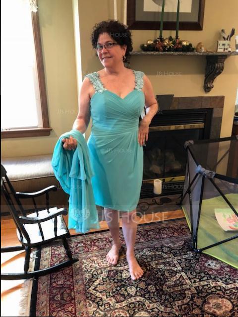 Etui-Linie Schatz Knielang Chiffon Kleid für die Brautmutter mit Rüschen Spitze (008131935)