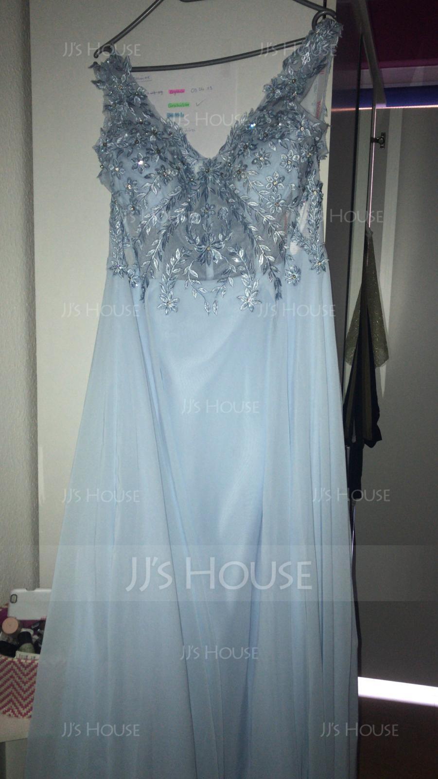 V-neck Floor-Length Chiffon Evening Dress With Beading (271194487)