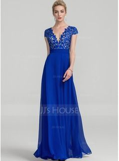 A-Line V-neck Floor-Length Chiffon Evening Dress With Ruffle (017116321)